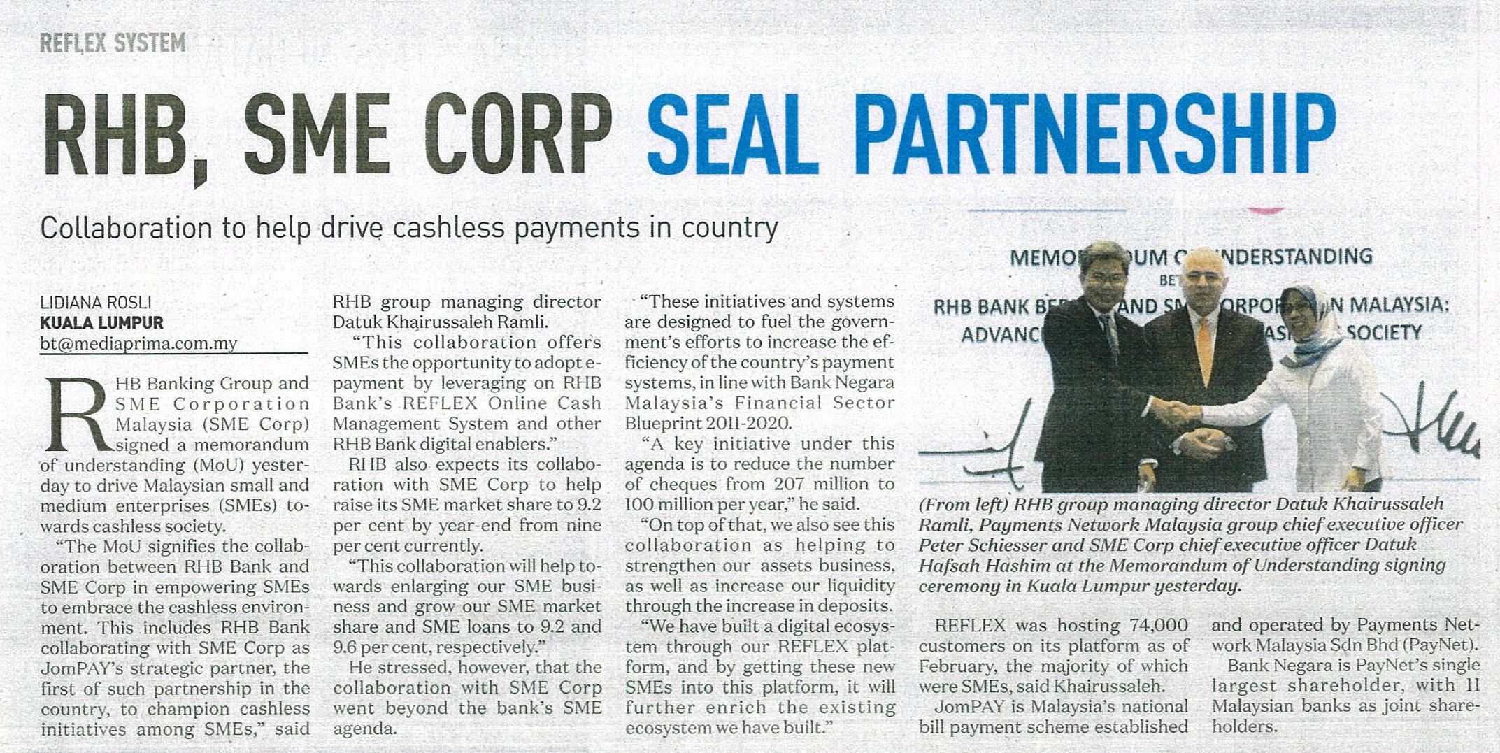 SME Corporation Malaysia - RHB, SME Corp  seal partnership