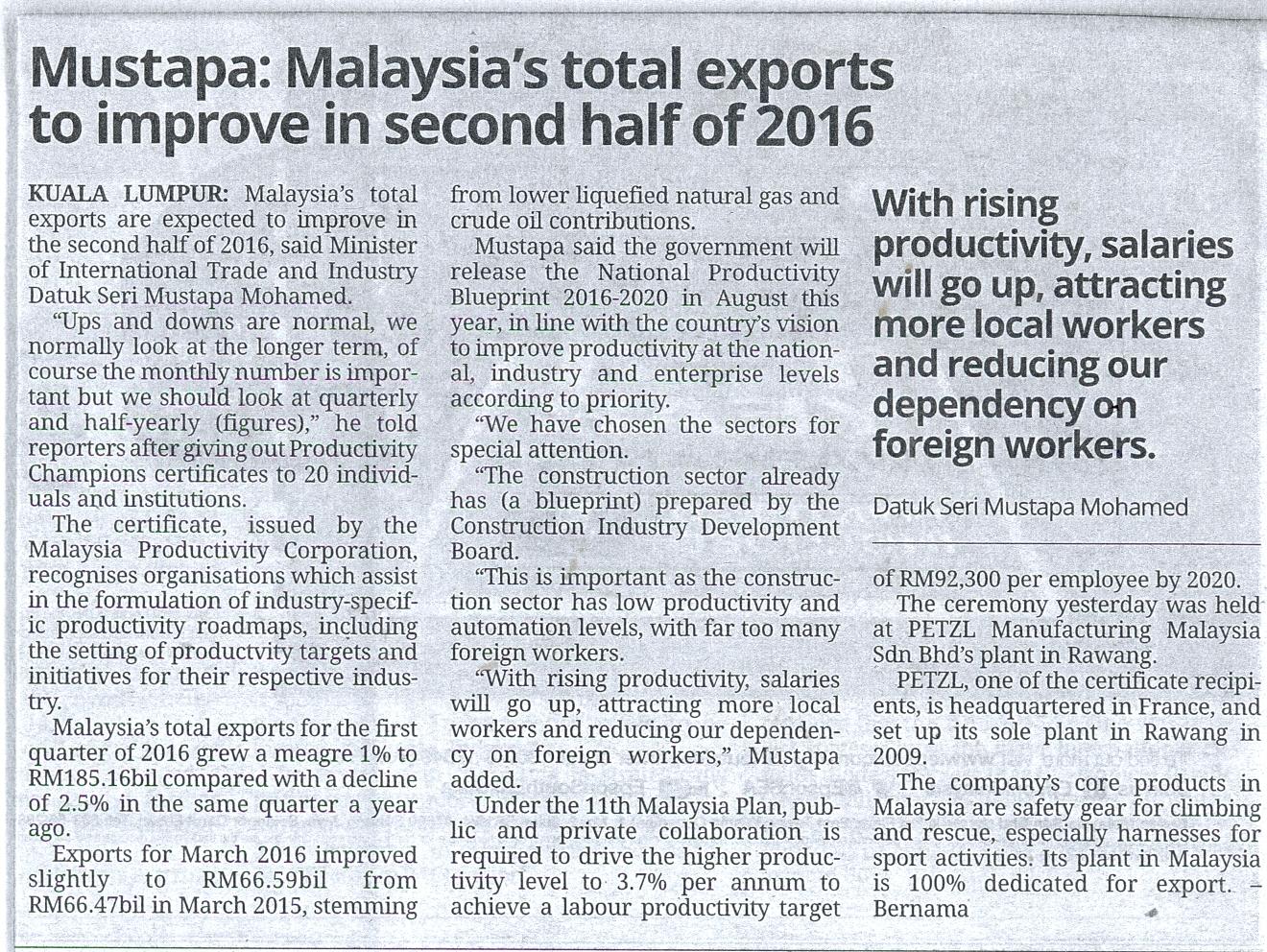 SME Corporation Malaysia - Mustapa:Malaysia's total exports